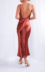 Keisha Midi Dress - Liquid Copper, Dress - Pretty Lavish