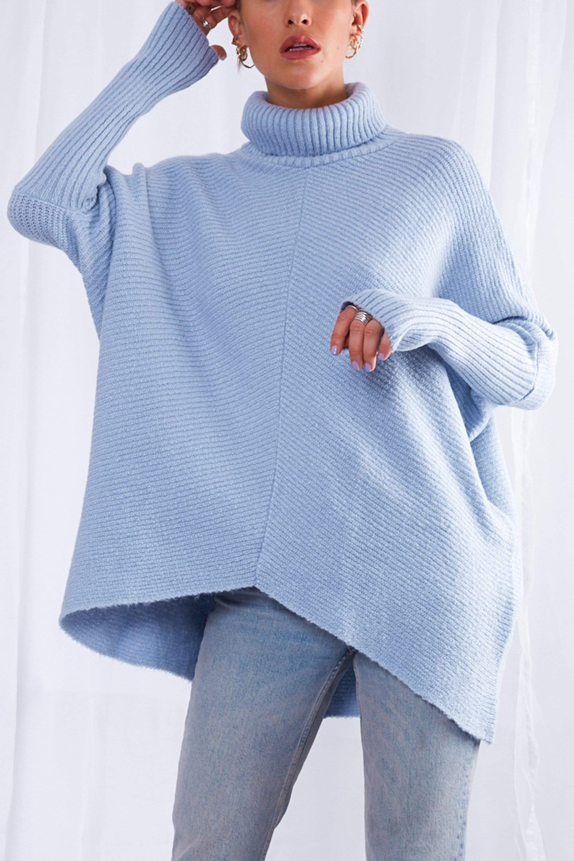 Callie Knit Jumper - Blue, Top - Pretty Lavish