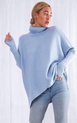 Callie Knit Jumper - Blue, KNITWEAR - Pretty Lavish