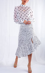 Zana Asymmetric Midi Skirt - Polka Dot, Bottoms - Pretty Lavish