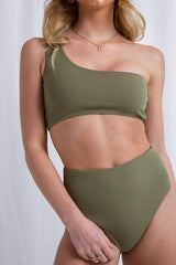 Mabel One Shoulder Bikini Top - Olive, Swimwear - Pretty Lavish
