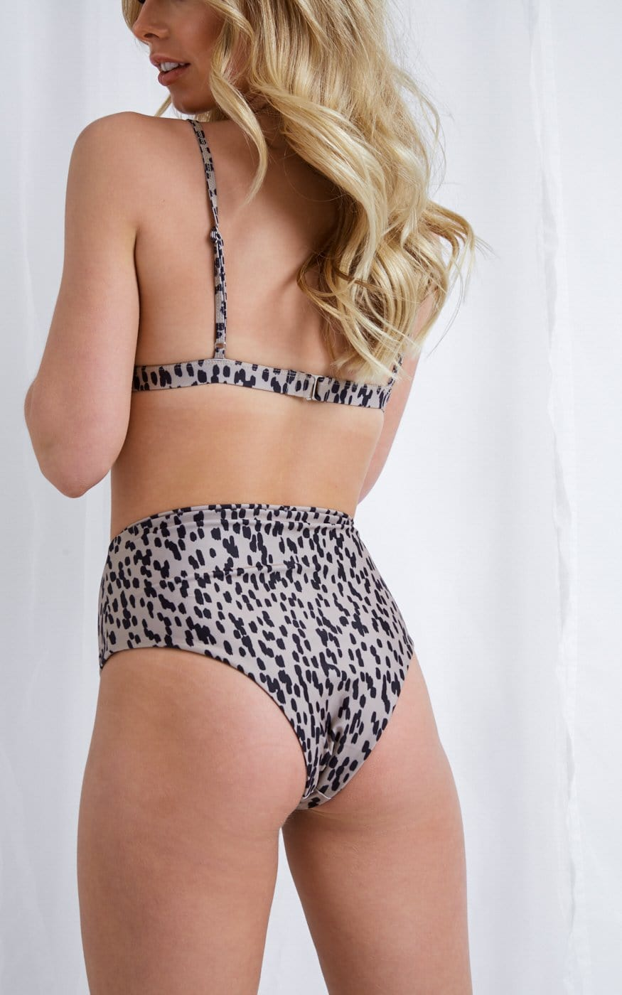 Leola High Waisted Bikini Bottoms - Brown, Swimwear - Pretty Lavish
