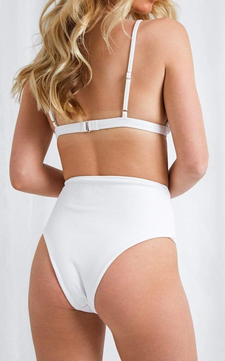 Leola High Waisted Bikini Bottoms - White, Swimwear - Pretty Lavish