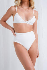 Leola Triangle Bikini Top - White, Swimwear - Pretty Lavish