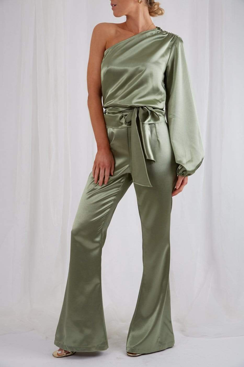 Amari Flared Trousers - Olive, Bottoms - Pretty Lavish