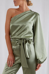 Amari One Shoulder Blouse - Olive, Top - Pretty Lavish