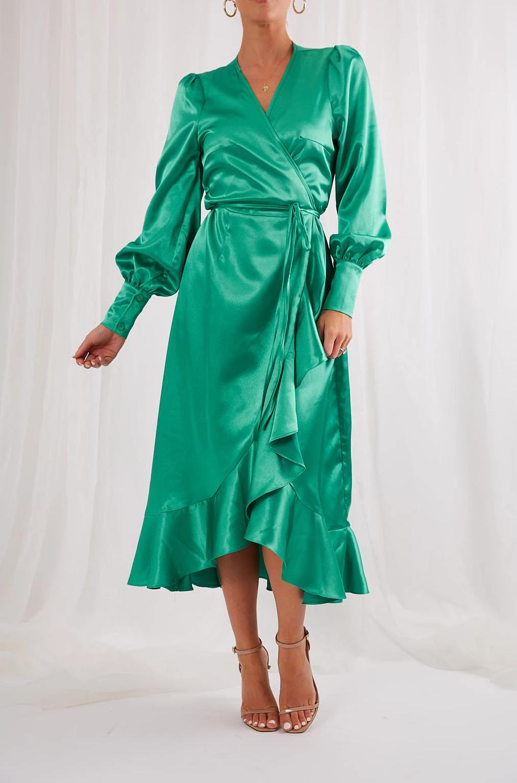 Louella Wrap Dress - Emerald Green, Dress - Pretty Lavish