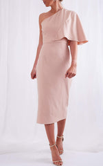 Sienna One Shoulder Dress - Pink, Dress - Pretty Lavish