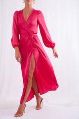 Josephine Maxi Wrap Dress - Fuchsia, Dress - Pretty Lavish