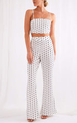 Lanie Flare Trousers - Polka Dot, Bottoms - Pretty Lavish