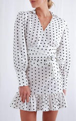 Aiden Wrap Blouse - Polka Dot, Top - Pretty Lavish