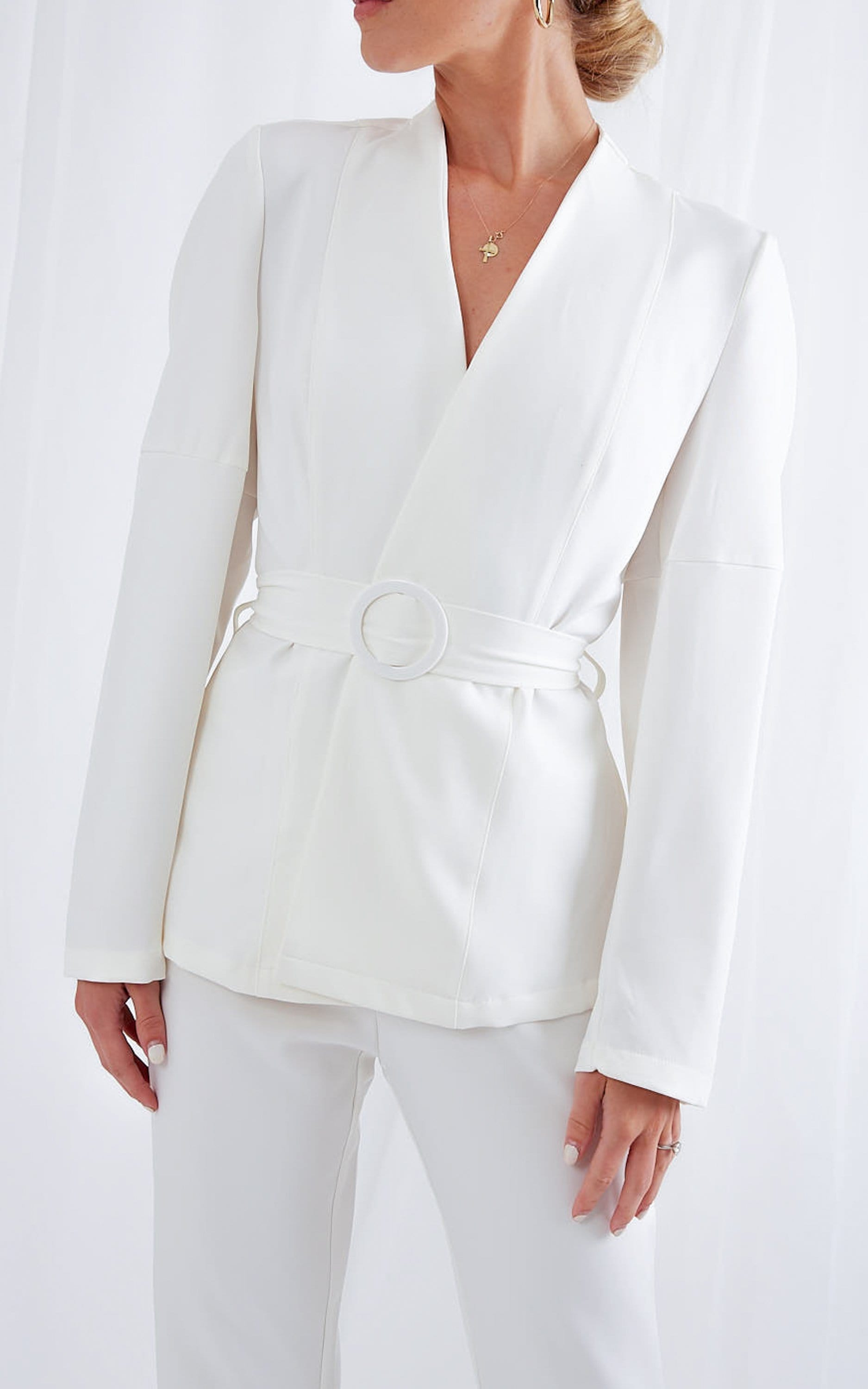 Morgan Belted Jacket - White, Coats & Jackets - Pretty Lavish
