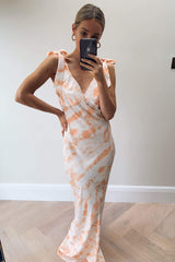 Piper Maxi Tie Dress - Coral Tie Dye, Dress - Pretty Lavish