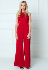 Satin Backless Wide Leg Jumpsuit - Red, Jumpsuit - Pretty Lavish