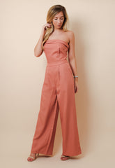 Rust Bandeau Jumpsuit, Jumpsuit - Pretty Lavish