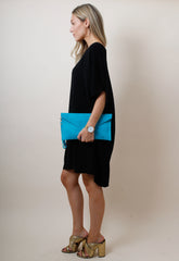 Suede Envelope Clutch Bag - Turquoise, Bags - Pretty Lavish