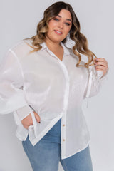 Curve Demi Metallic Tie Cuff Blouse - White