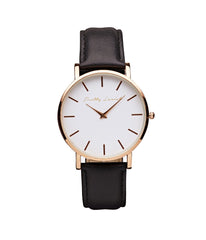 Outlet Leather Watch - Black, Jewellery - Pretty Lavish