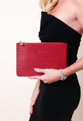 Outlet Ribbed Leather Clutch Bag - Wine, Bags - Pretty Lavish