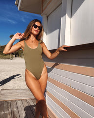 Dahlia Tie Shoulder Swimsuit - Olive, Swimwear - Pretty Lavish