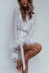 Chloe Sequin Feather Dress - White