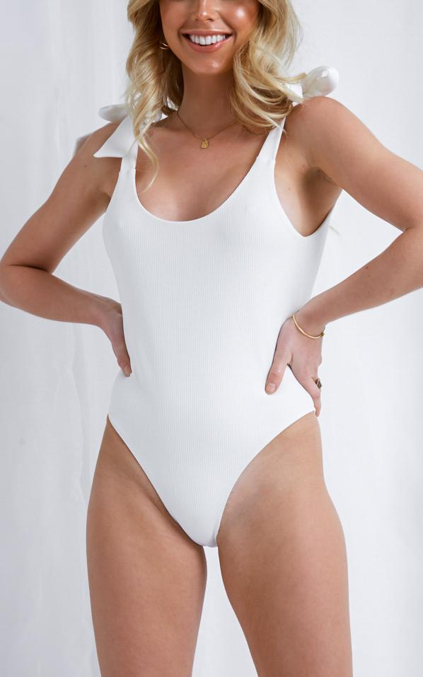 Dahlia Tie Shoulder Swimsuit - White, Swimwear - Pretty Lavish