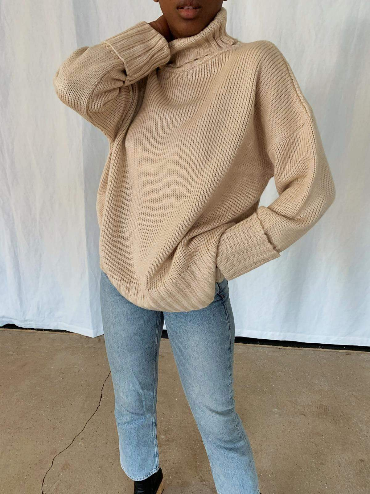 Lina Turtle Neck Jumper - Beige, KNITWEAR - Pretty Lavish