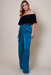 Frill Tie Waist Wide Leg Trousers - Teal, Bottoms - Pretty Lavish