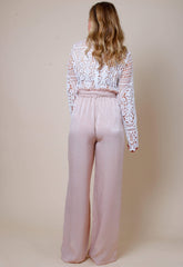 Frill Tie Waist Wide Leg Trousers - Blush, Bottoms - Pretty Lavish