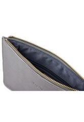 Outlet Ribbed Leather Clutch Bag - Grey, Bags - Pretty Lavish