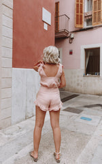 Laura's Little Locket Emee Frill Shorts - Pink Linen, Bottoms - Pretty Lavish