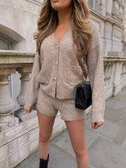 Bella Chunky Knitted Cardigan - Beige (4827780251741)