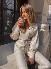 Cara Linen Boilersuit - Sand (4827780644957)