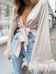 Daisy Feather Tie Knot Blouse - Blush