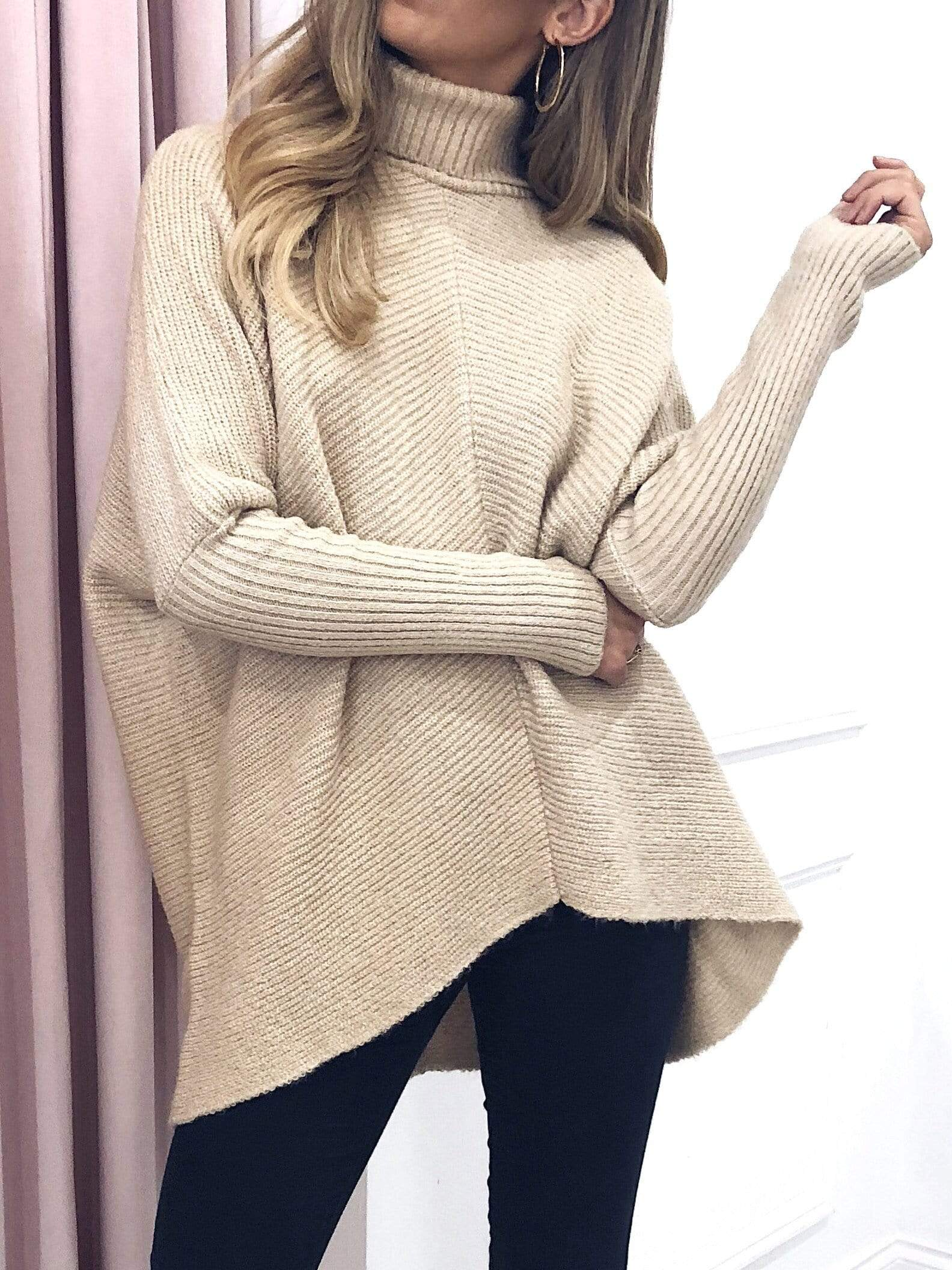 Callie Knit Jumper - Beige, Top - Pretty Lavish
