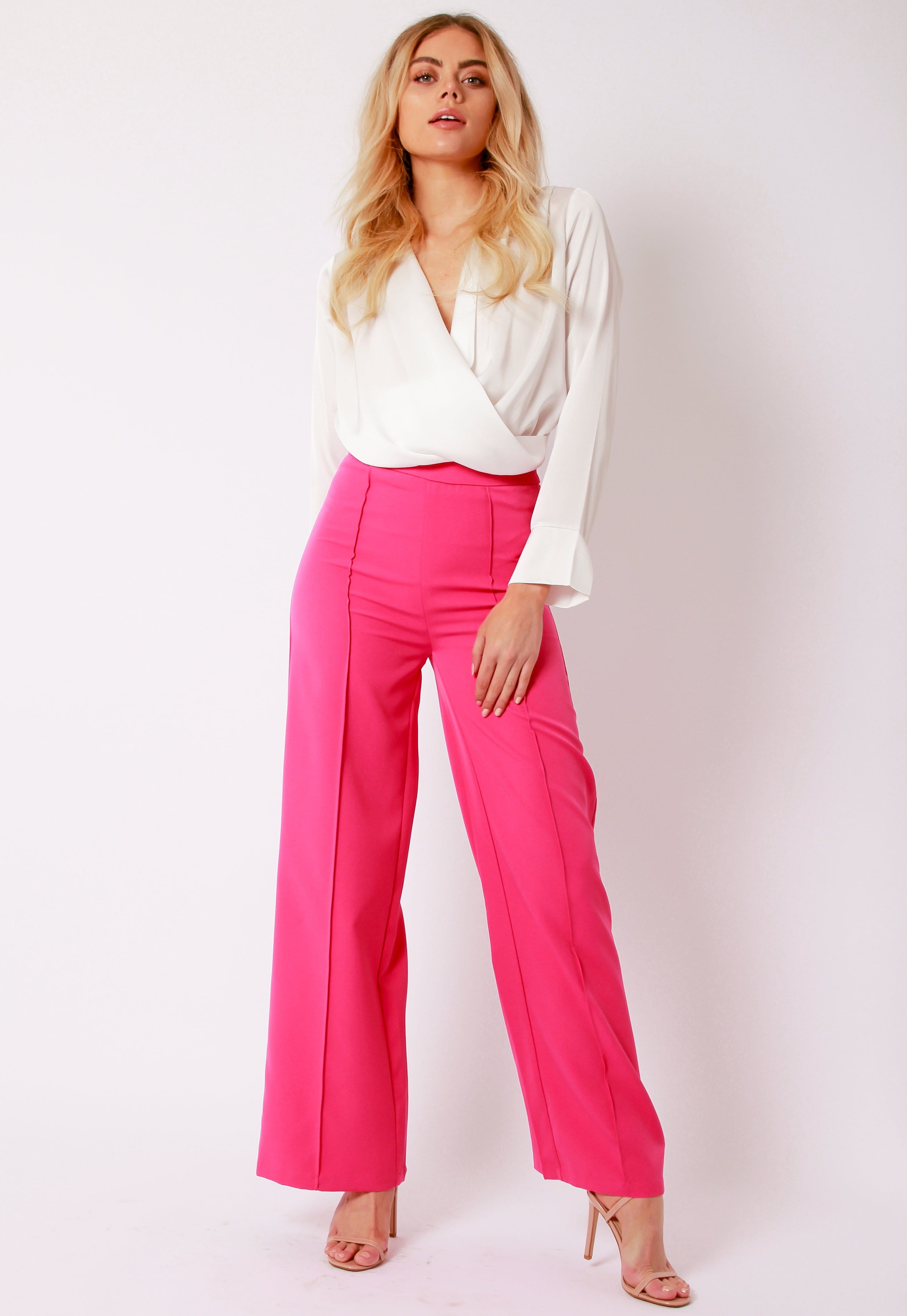 Outet Kingsley Tailored Trousers - Fuchsia, Bottoms - Pretty Lavish