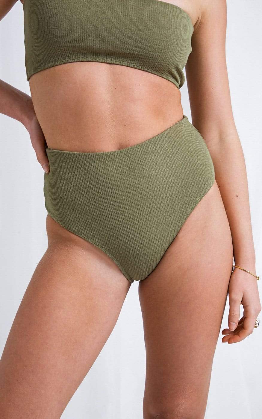 Mabel High Waisted Bikini Bottoms - Olive, Swimwear - Pretty Lavish