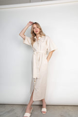 Mabel Belted Shirt Dress - Beige (4827782316125)