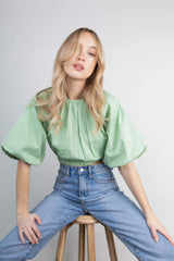 Ruby Puff Sleeve Blouse - Pastel Green (4827783987293)
