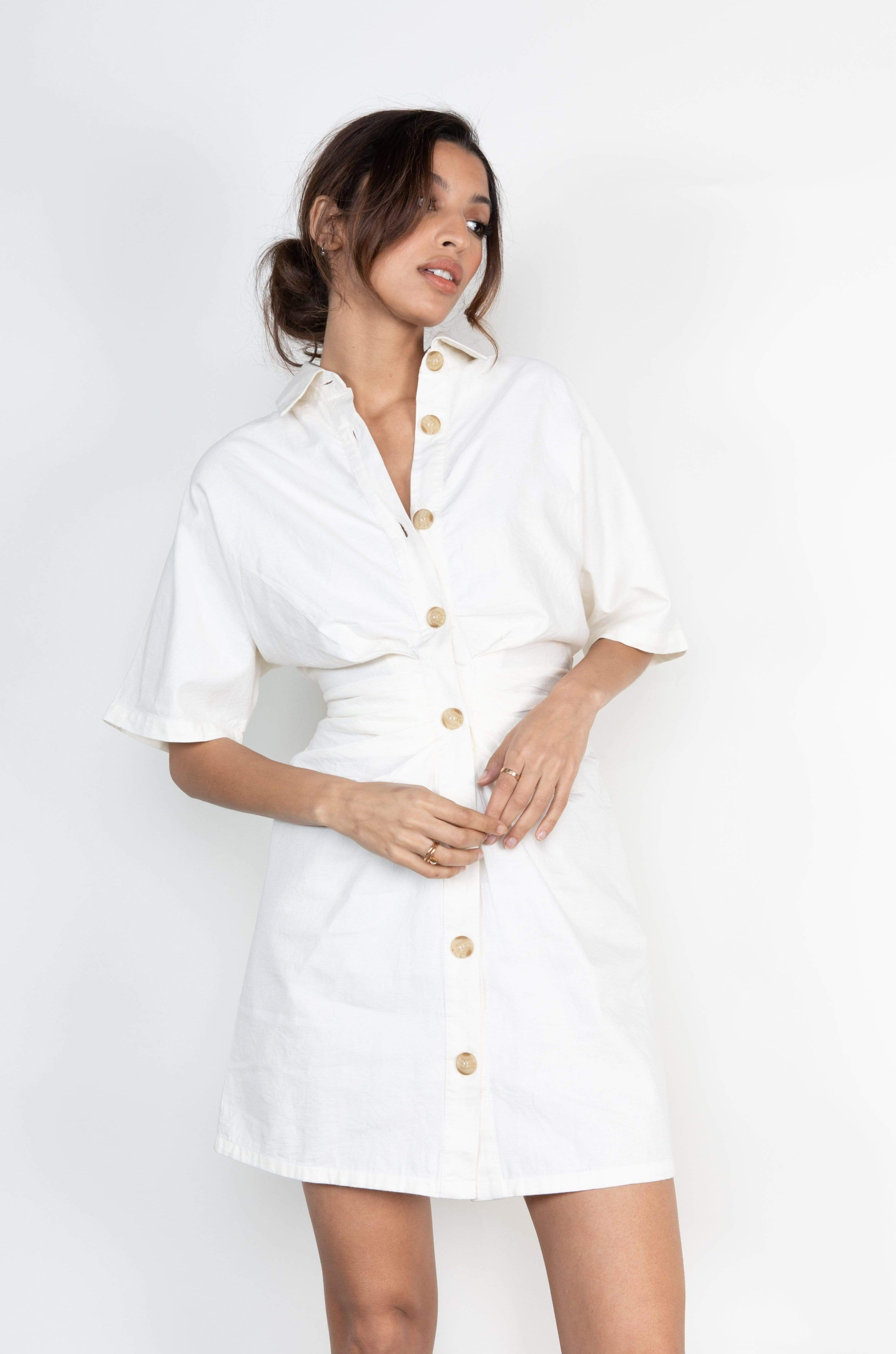 Lane Mini Ruched Button Dress - Cream (4827781955677)