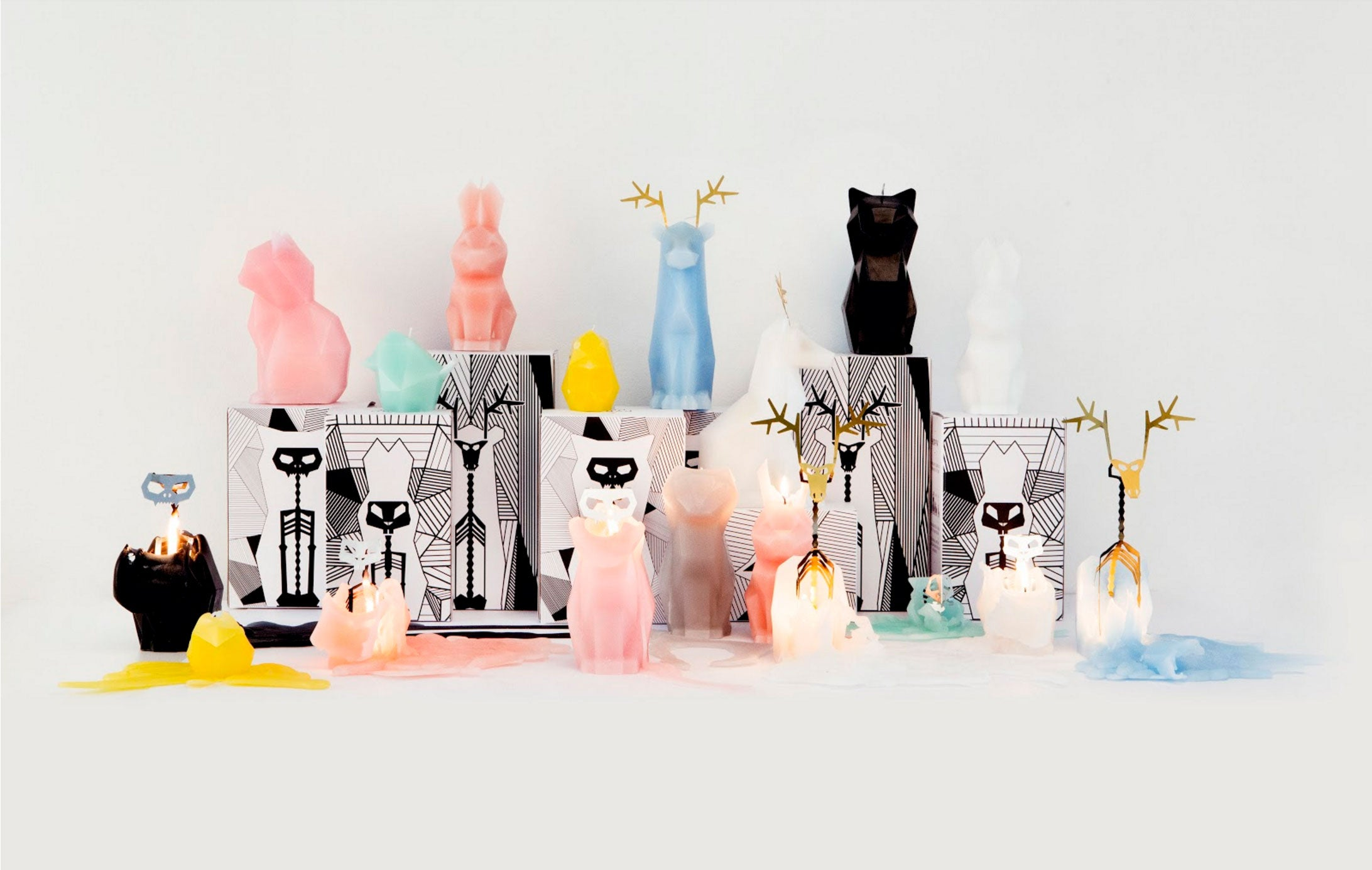 PyroPet Skeleton Candles - Kitty Cat Kisa, Dyri Reindeer, Hoppa bunny rabbit, Bibi bird