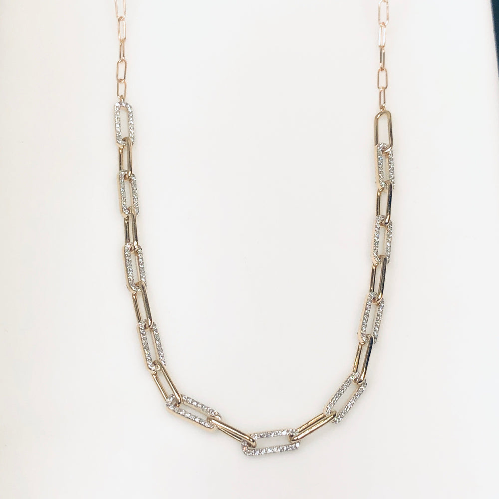 WD687 14kt Open Link Chain with .85ct of pave diamond set on long links Necklace