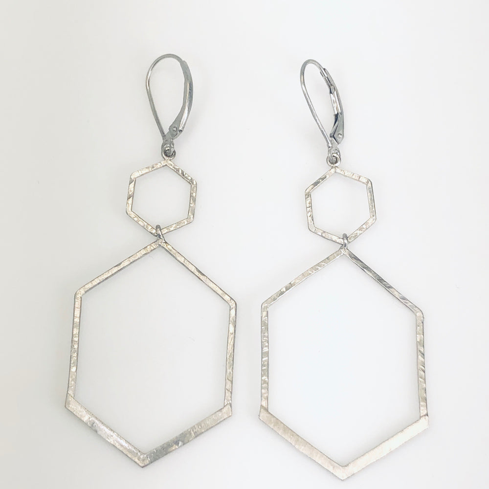 WD596 - Double Hexagon Drop Earrings