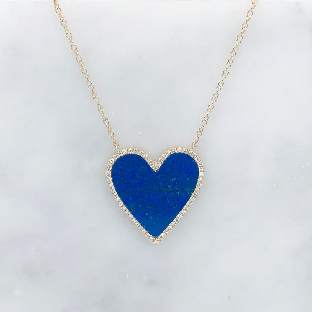 WD659 - Lapis Heart with pave diamond