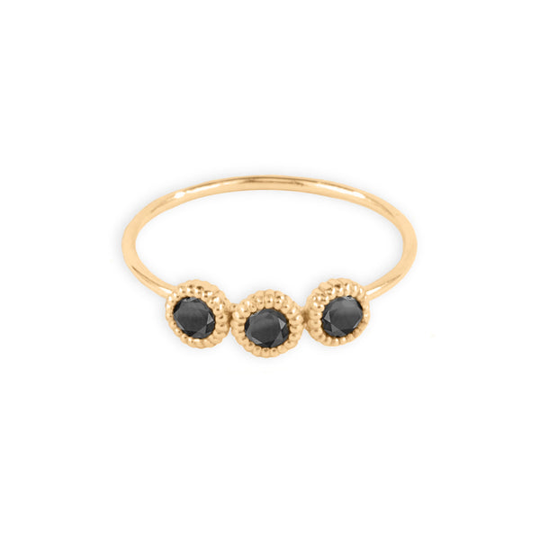 3 Pebble Black Diamond Ring