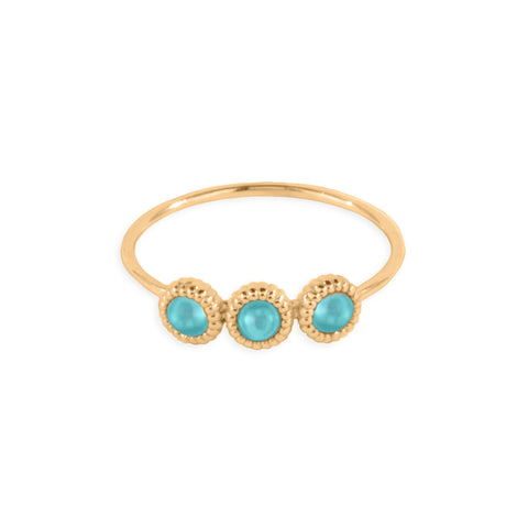 3 Pebble Turquoise Ring