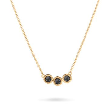 3 Pebble Black Diamond Necklace
