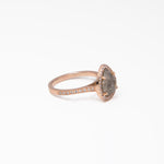 WD334, 14kt Rose gold, approx 2.34ct Pear shaped Rose cut Raw diamond with .30ct pave diamond on halo and band. Stackable one of a kind ring