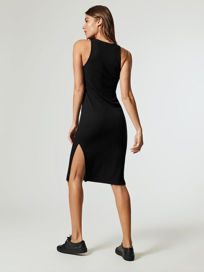 HD0285 - Monrow Rib Tank dress with side slit