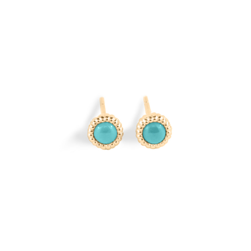 WD138-T, 14kt gold, 1, 3mm turquoise stud earrings